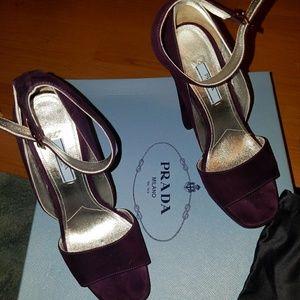 Prada ankle strap heels